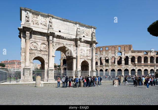 Arch of Constantine (Arco di Costantino) and the Colosseum, UNESCO World Heritage Site, Rome, Lazio, Italy, Europe - Stock Image