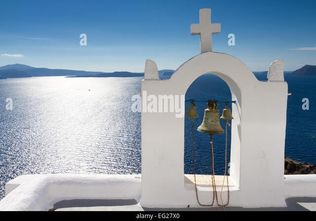 White bell tower at Oia, Santorini, Cyclades, Greece - Stock Image