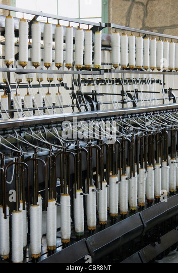 Textile industry. Machine used in the spinning process. Catalonia. Spain. - Stock Image