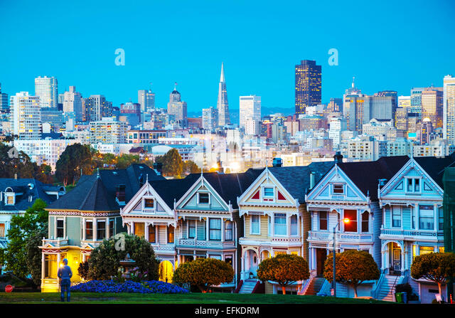 San Francisco cityscape with the Painted Ladies as seen from Alamo square park - Stock Image