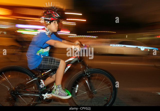 Miami Florida Little Havana Calle Ocho Miami Critical Mass self-propelled transportation event bicycle bicycles - Stock Image