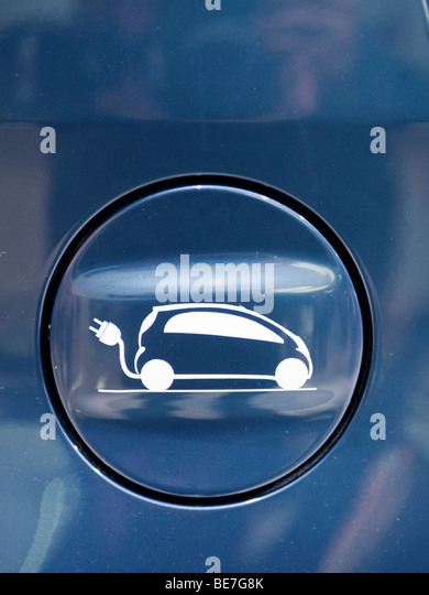 Detail of cap over electric recharging plug fitted to new electric car at the Frankfurt Motor Show 2009 - Stock Image