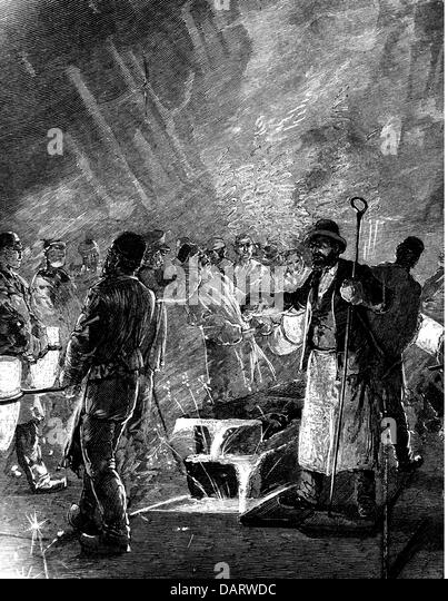 industry, metal, pouring of crucible steel into moulds, wood engraving, 1898, 19th century, metal industry, heavy - Stock-Bilder