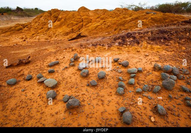 Stones, rock, and eroded soil in Sarigua national park (desert), Herrera province, Republic of Panama. - Stock-Bilder