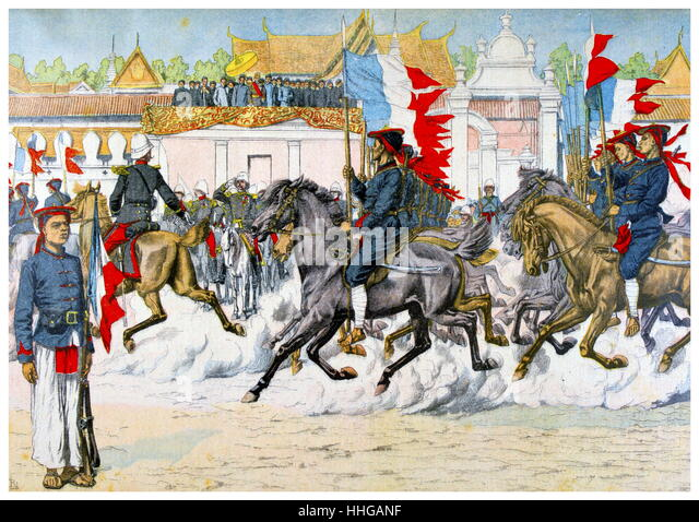 French Illustration showing French Indo-Chinese, (Vietnamese) troops on parade in Hue. 1903 - Stock Image