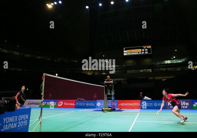 Tokyo Metropolitan Gymnasium, Tokyo, Japan. 13th Sep, 2015. (L to R) Nozomi Okuhara, Akane Yamaguchi (JPN), SEPTEMBER - Stock Image
