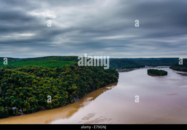 View of the Susquehanna River from the Pinnacle, in Lancaster County, Pennsylvania. - Stock Image