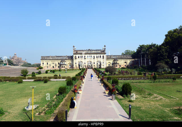 The beautiful gardens at the Bara Imambara complex in Lucknow, India. - Stock Image