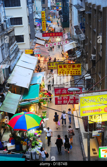 Aerial view on street market in Hong Kong. - Stock Image