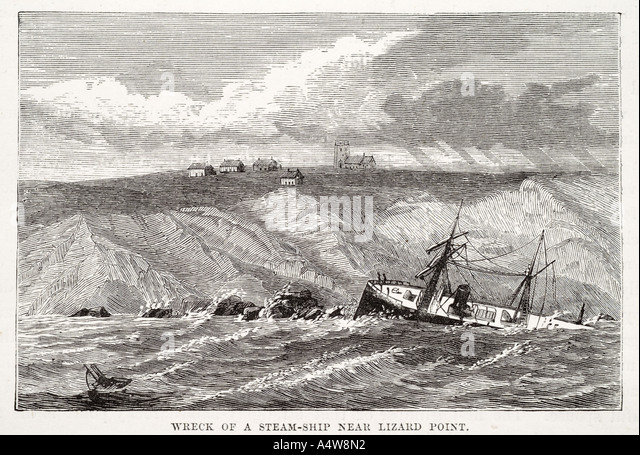 wreck steam ship lizard point storm wave cliff shore smash peril sail founder crash break broken rock coast shore - Stock Image
