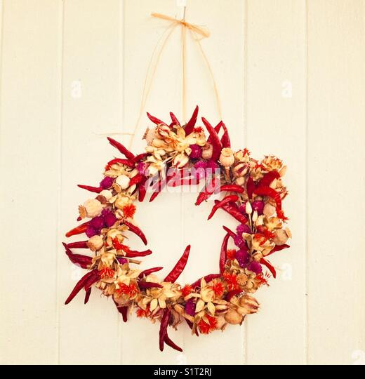 Handmade red pepper wreath - Stock Image
