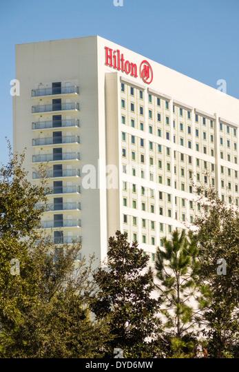 Orlando Florida International Drive Hilton Hotel building exterior high rise - Stock Image