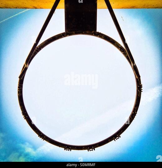 Basketball hoop metal ribg viewed from below - Stock Image