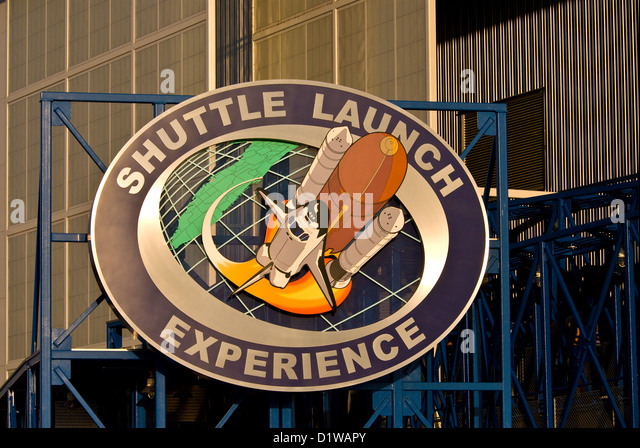 Shuttle Launch Experience attraction sign Kennedy Space Center Visitor Center, Florida - Stock Image