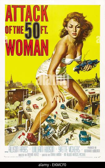 Old movie poster 'Attack of the 50 Foot Woman' a 1958 American low-budget science fiction feature film produced - Stock Image