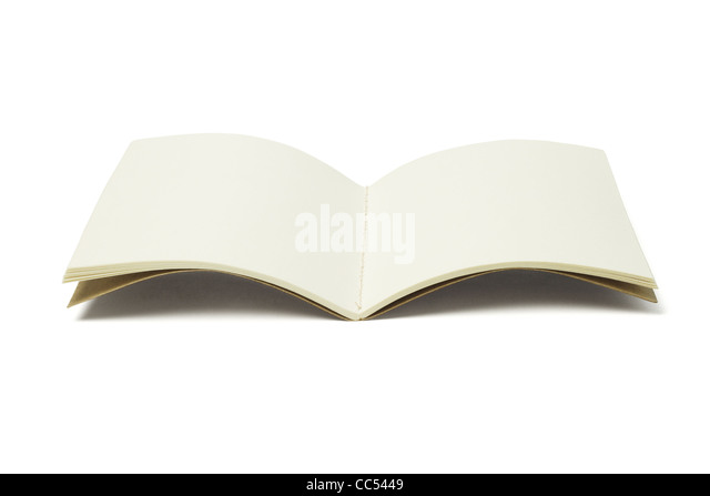 Open Blank Thread Sew Book on White Background - Stock Image