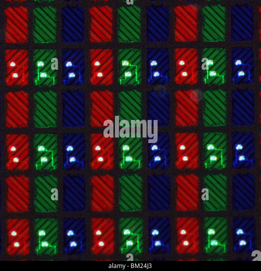 Extreme close-up of a 47 inch LCD TV. All sides of the photo are exactly one mm long. - Stock Image