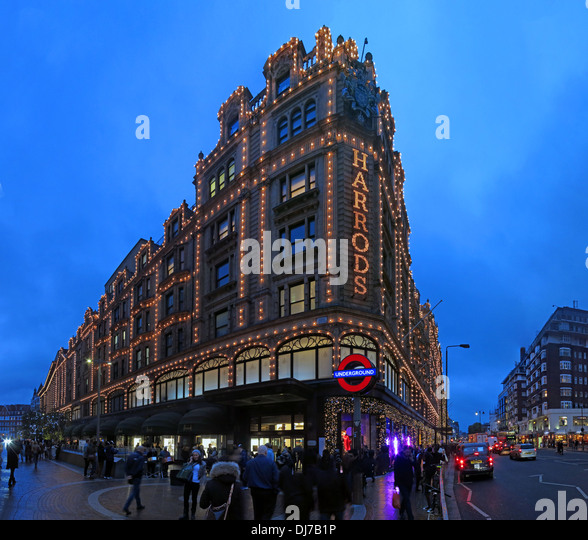 Harrods Knightsbridge London at night, England UK - Stock Image