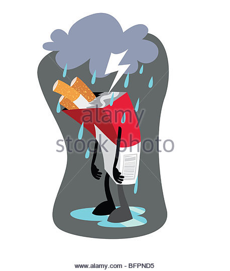 Pack of Cigarettes in a Storm Cloud - Stock-Bilder