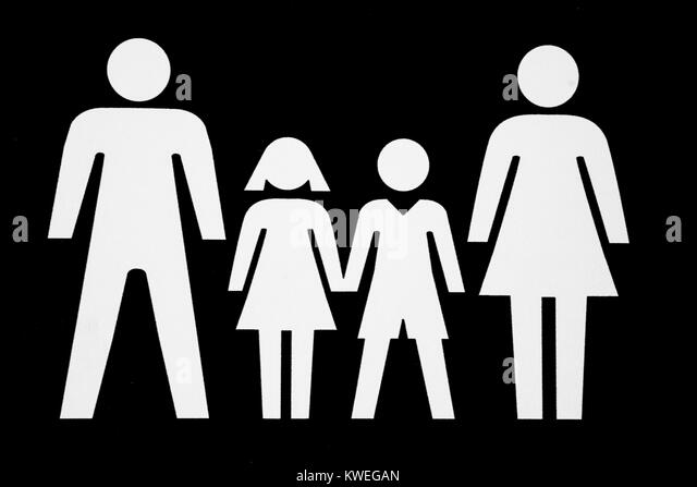 Family pictogram, parents with two children, father, mother, daughter, son, white on a black background - Stock Image
