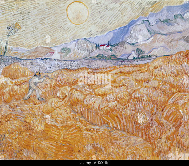 'fine arts, Gogh, Vincent van, (1853 - 1890), painting, 'the harvest', 1889, Folkwang museum, Essen, - Stock-Bilder