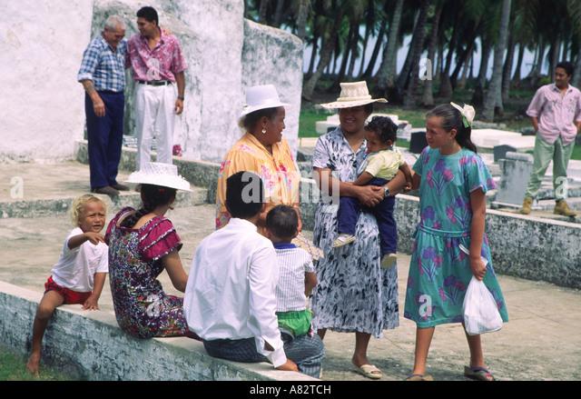 Suedsee Cook Islands Aitutaki village church on sundays - Stock Image