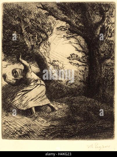 Alphonse Legros, Thunder (Un coup de foudre), French, 1837-1911, etching - Stock-Bilder