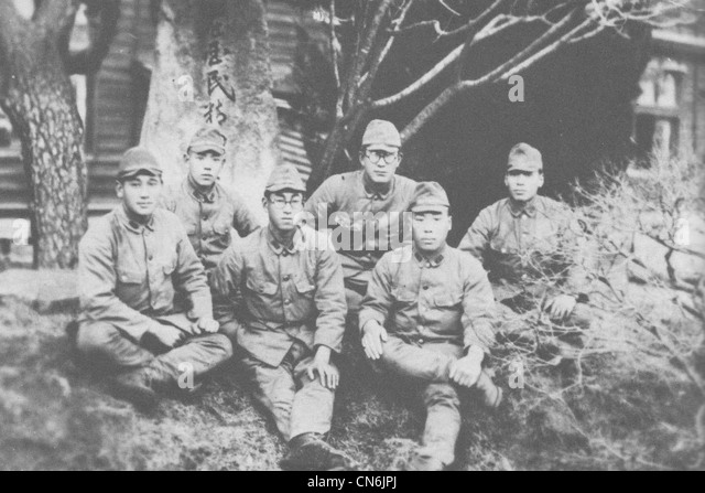 A photograph of Imperial Japanese Army soldiers serving on New Georgia, presumably taken in Japan before their deployment - Stock Image
