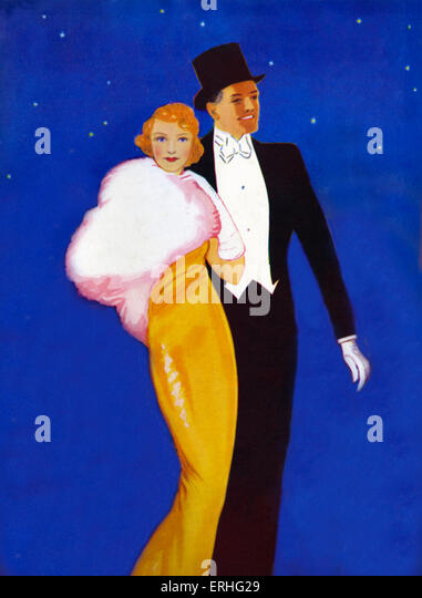 1930s couple in evening dress going out on the town. Top hat, yellow dress with white fur cape and midnight blue - Stock Image