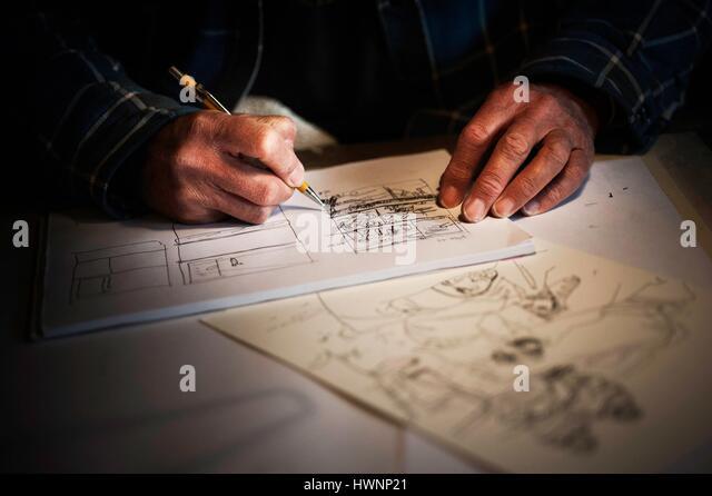 Switzerland, Vaud, Les Diablerets, Bernard Cosandey said Cosey, commic books autor, at home - Stock-Bilder