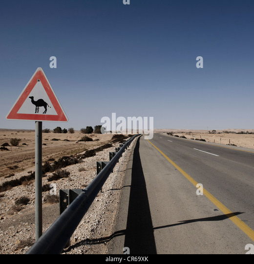 Israel, View of camel sign - Stock Image
