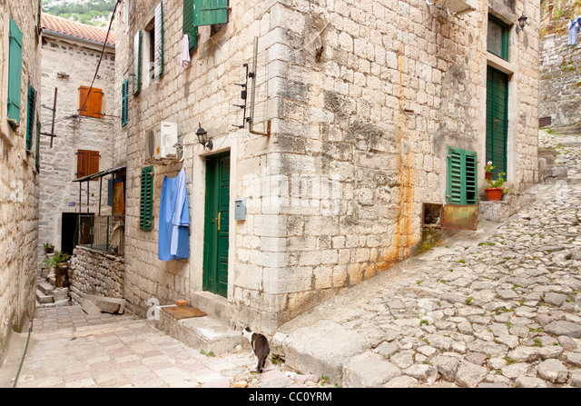 View on old town of Kotor UNESCO twon in Montenegro. - Stock Image