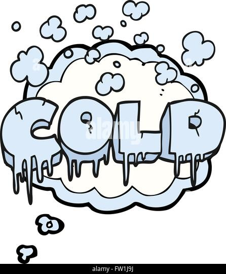 freehand drawn thought bubble cartoon cold text symbol - Stock-Bilder