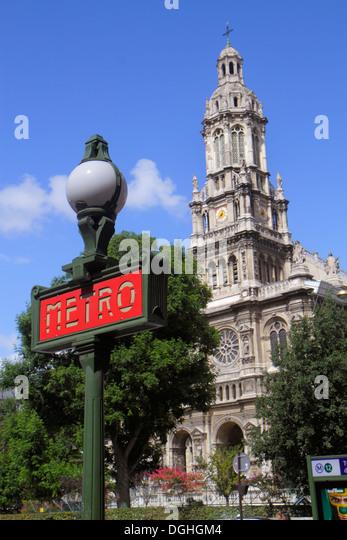 Paris France Europe French 9th arrondissement Place d'Estienne d'Orves Église de la Sainte Trinité - Stock Image