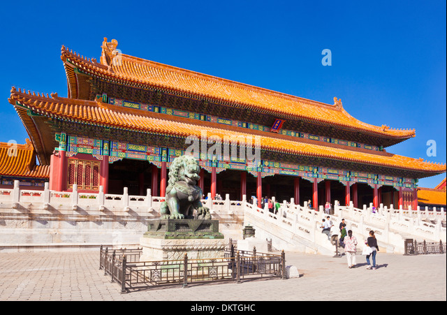 Male bronze lion in front of the Gate of Supreme Harmony Outer Court Forbidden City Beijing Peoples Republic of - Stock Image