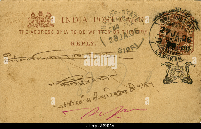 AAD72408 Concept Philateli indian post card 1906 vintage old archival Gwalior State india - Stock Image