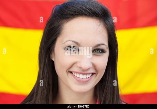 Young woman and spanish flag - Stock Image