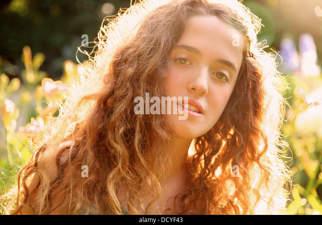 Portrait of Teenage Girl Outdoors - Stock Image