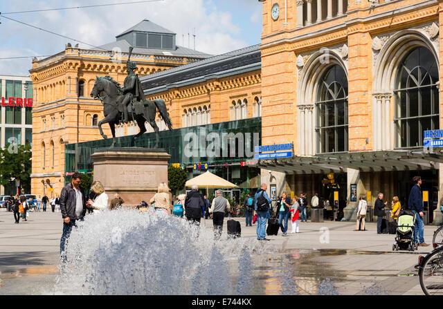 Hannover Hauptbahnhof. Main railway station . Ernst August Platz - Stock Image