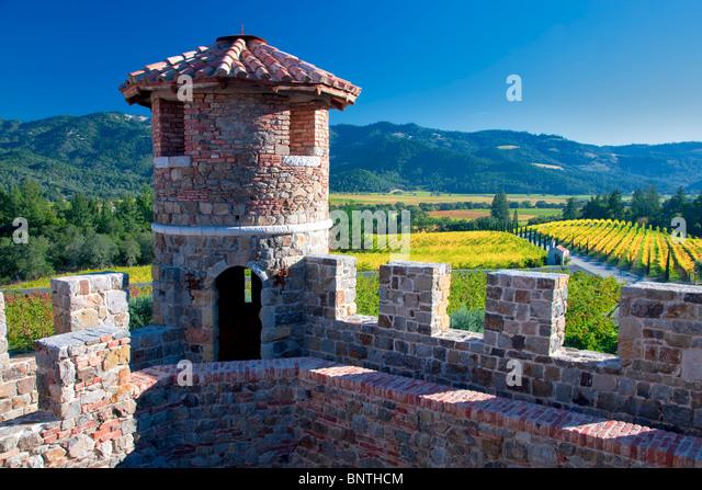 Castle turret at Castello di Amorosa. Napa Valley, California. Property released - Stock Image