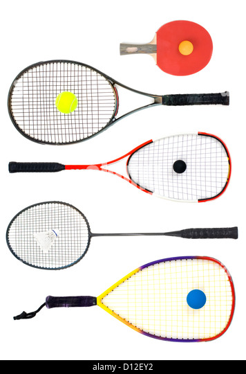 Table tennis, Tennis, squash, badminton and racquetball racquets istolated on white background. - Stock Image