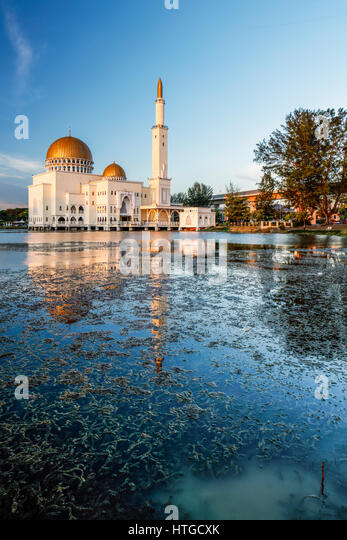 Sunset at the As Salam Mosque in Puchong, Malaysia. - Stock Image