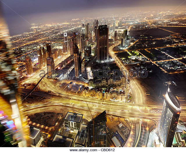 Aerial time-lapse view of Dubai - Stock Image