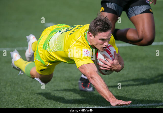Las Vegas, NV, USA. 4th Mar, 2017. Ed Jenkins #9 of Australia dives in for a score during Pool D play of the rugby - Stock-Bilder