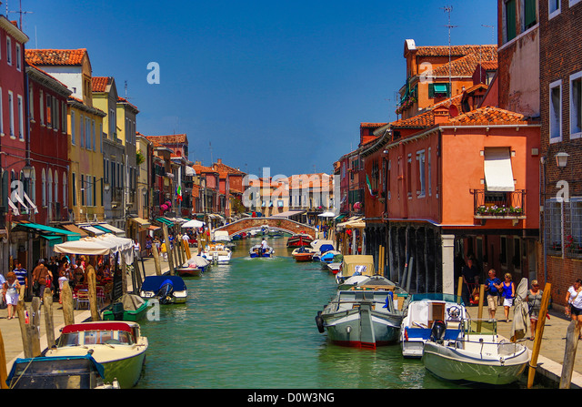 Italy, Europe, travel, Murano, Fondamenta dei Vetrai, Canal, boats, Venice - Stock-Bilder
