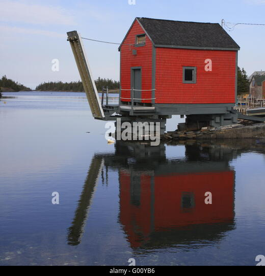 raised fishing shack at Stonehurst, Nova Scotia - Stock Image