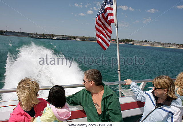 Michigan Mackinaw City Arnold Ferry Straits of Mackinac Lake Huron catamaran Mackinac Island Great Lakes navigating - Stock Image