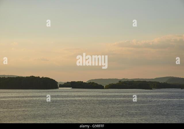 Susquehanna River at twilight, Colombia, Lancaster County, Pennsylvania, USA - Stock Image