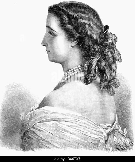 Eugenie, 5.5.1826 - 11.7.1920, Empress Consort of France 30.1.1853 - 4.9.1870, half length, wood engraving after - Stock-Bilder