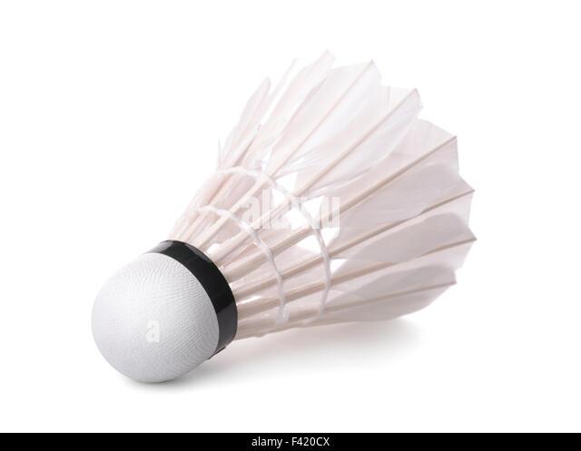 Badminton shuttlecock isolated on white - Stock Image